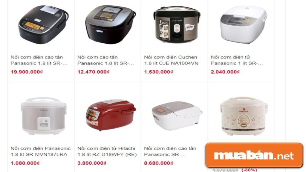 Thị trường có nhiều nồi cơm điện với các mẫu mã, giá cả khác nhau.