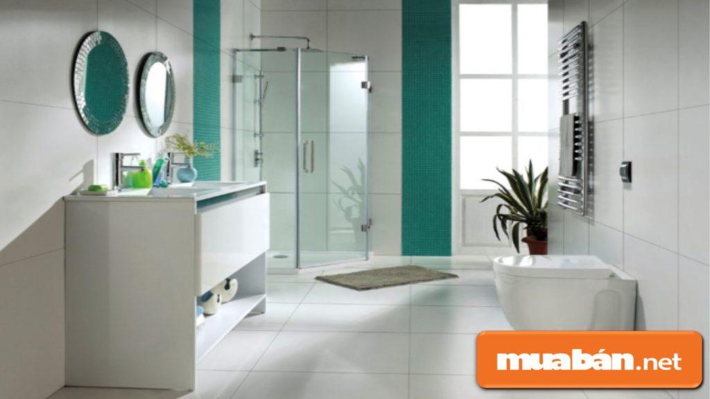 Phong thủy nhà vệ sinh ưu tiên lựa chọn những gam màu như trắng, xanh lam...