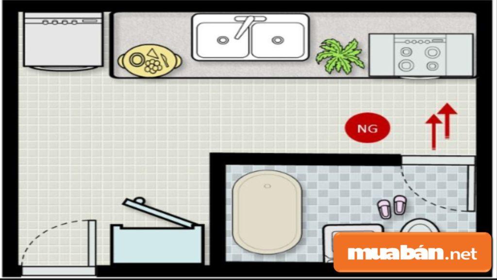 Nếu Cửa Phòng Vệ Sinh Đối Diện Bếp Nấu, Bạn Nên Đặt Chậu Cây Hoặc Treo Tấm Bình Phong Để Hóa Giải.