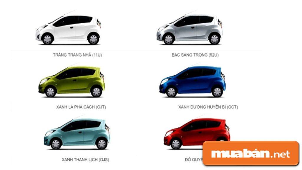 Bảng màu xe Cheverlet Spark giúp cho người dùng có nhiều lựa chọn.