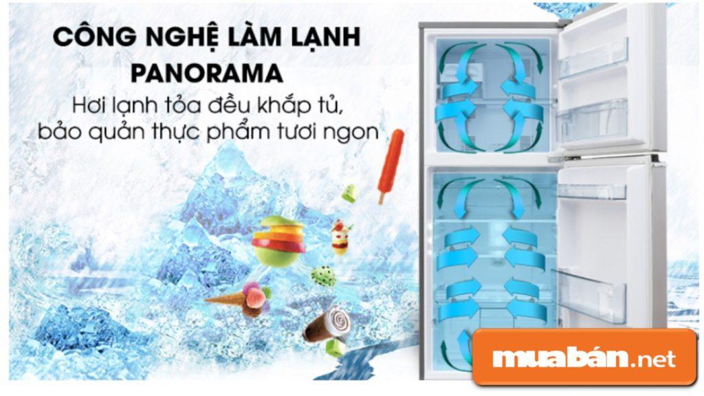 Công nghệ Panorama giúp hơi lạnh lan tỏa đều khắp mọi nơi trong tủ, giúp thực phẩm được bảo quản tốt hơn.