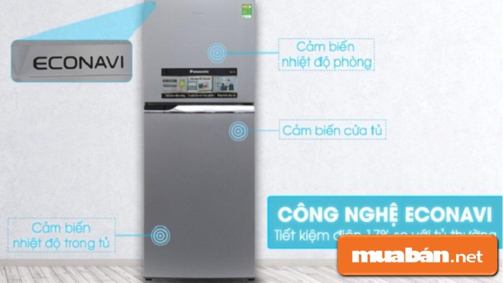 Tủ lạnh Panasonic Inverter được tích hợp thêm cảm ứng Econavi giúp tiết kiệm điện tối đa.