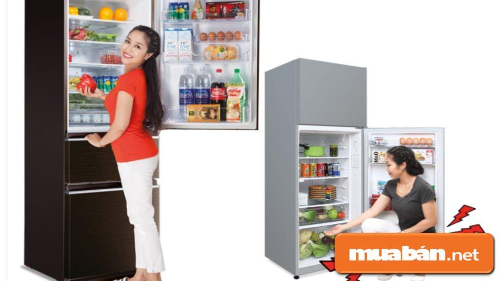 Tủ lạnh có ngăn đá dưới giúp cho người sử dụng lấy hoặc cất thức ăn được tiện lợi hơn.