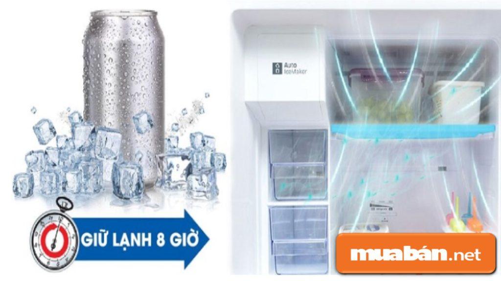 Công nghệ giữ lạnh Mr.Coopack giúp ngăn đông tủ lạnh có thể giữ lạnh 8 tiếng sau khi mất điện.