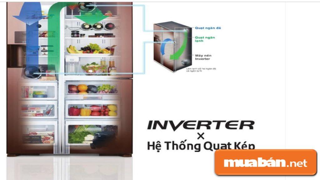 Công nghệ làm lạnh Air Jet Flow cùng hệ thống làm lạnh kép giúp luồng khí lạnh phân bổ đồng đều khắp các ngăn tủ.