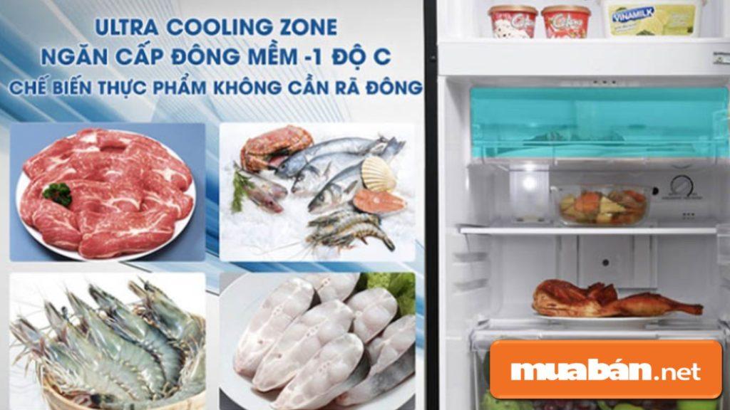 Toshiba còn được thiết kế ngăn cấp đông mềm giúp chế biến thức ăn mà không cần phải rã đông.