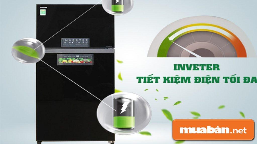 Tủ lạnh Toshiba được hỗ trợ tiết kiệm điện năng Inverter.