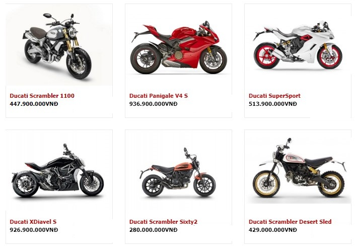 Bảng Giá Xe Phân Khối Lớn Ducati Tháng 4/2019