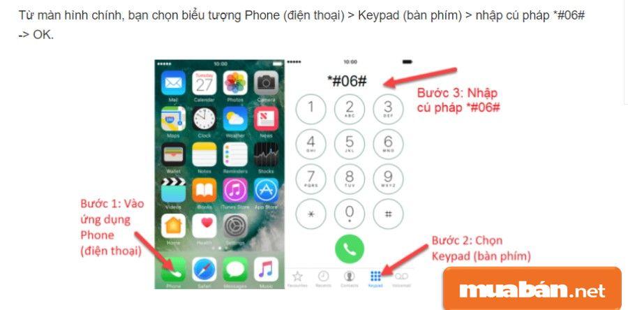 Một trong những cách kiểm tra thông tin IEMI trên điện thoại Iphone.