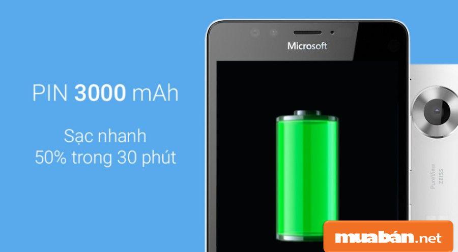 Dung lượng pin 3000 mAh giúp bạn có thời gian sử dụng máy khá tốt.