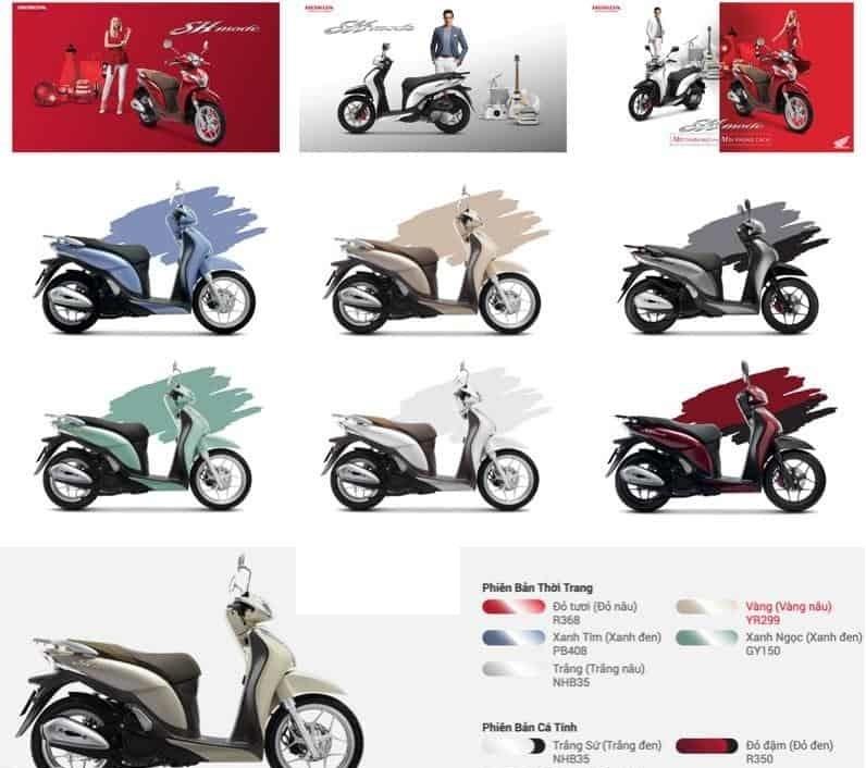 Gợi ý chọn màu xe SH Mode 2017 hợp phong thủy
