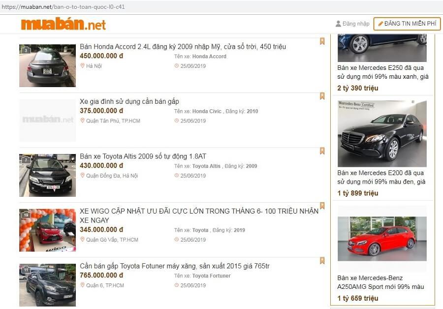 Muaban.net - địa chỉ mua bán xe hơi uy tín