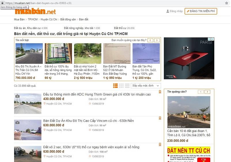 Muaban.net - địa chỉ cung cấp thông tin đất nền Củ Chi uy tín.