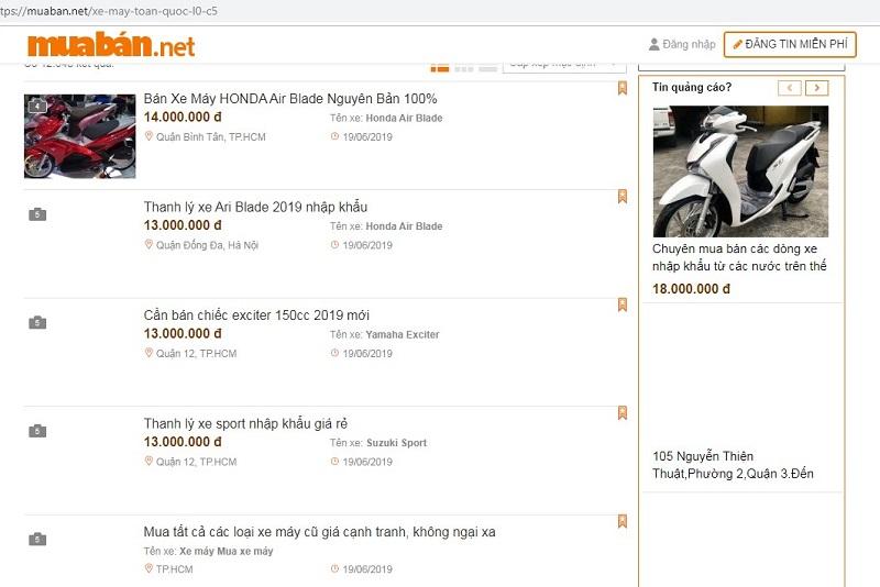 Muaban.net - địa chỉ mua bán xe máy cũ uy tín.