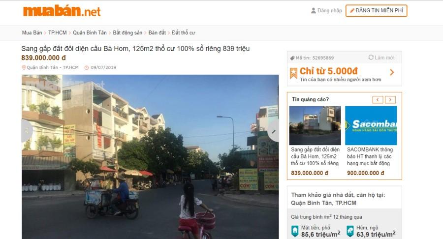 Bán đất quận Bình Tân
