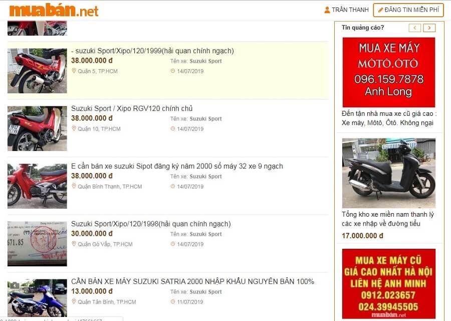 Tại muaban.net bạn có thể tìm thấy rất nhiều mẫu xe Suzuki Sport giá tốt, chất lượng.