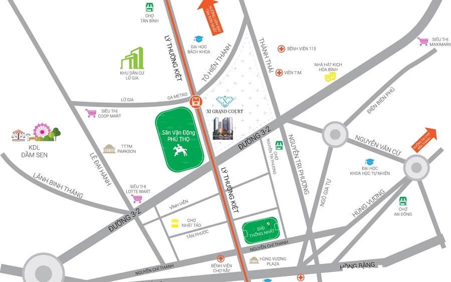 Xi Grand Court có vị trí đắc địa, nằm ngay mặt tiền đường Lý Thường Kiệt, Quận 10, TP.HCM.
