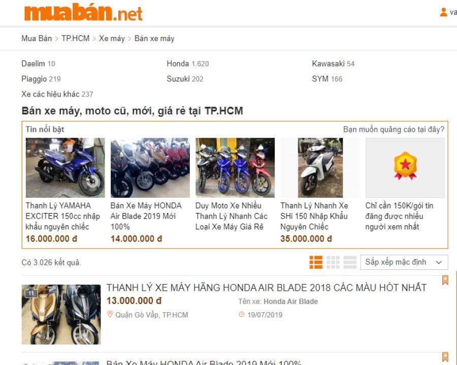 Chợ xe máy cũ tại tphcm