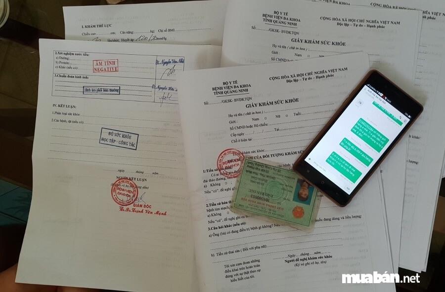 Các loại giấy tờ tùy thân phải có trong hồ sơ ứng tuyển.