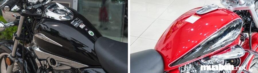 Bình xăng của Suzuki GZ150–A và Honda Shadow 150 rất khác nhau