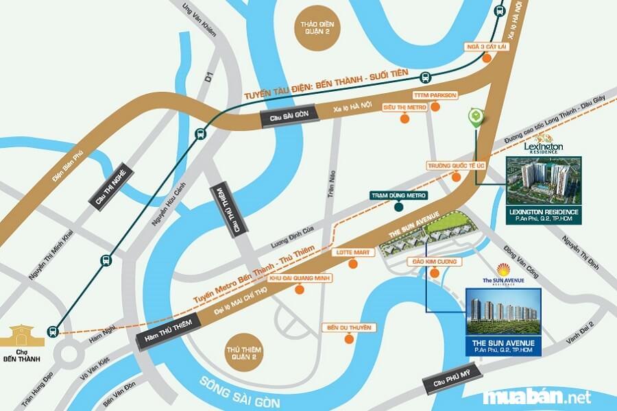 Vị trí dự án: Mặt tiền Đại lộ Mai Chí Thọ, P. An Phú, Q.2, TP. Hồ Chí Minh.