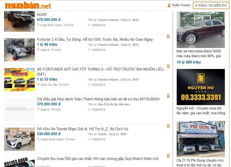 Muaban.net - địa chỉ đăng tin rao bán ô tô cũ chất lượng.