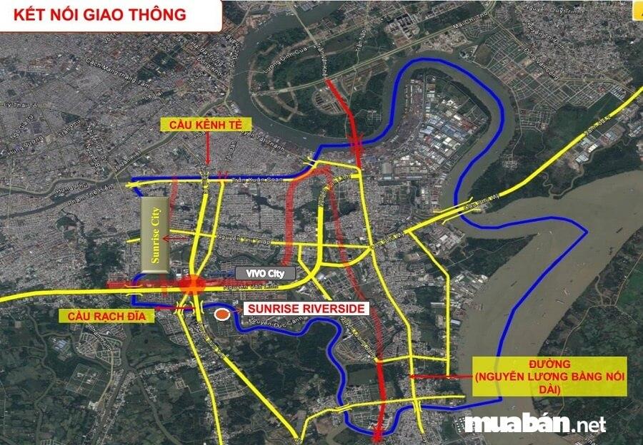 Dự án căn hộ Sunrise Riverside nằm ngay trục đường giao thông huyết mạch Nguyễn Hữu Thọ, Quận 7.