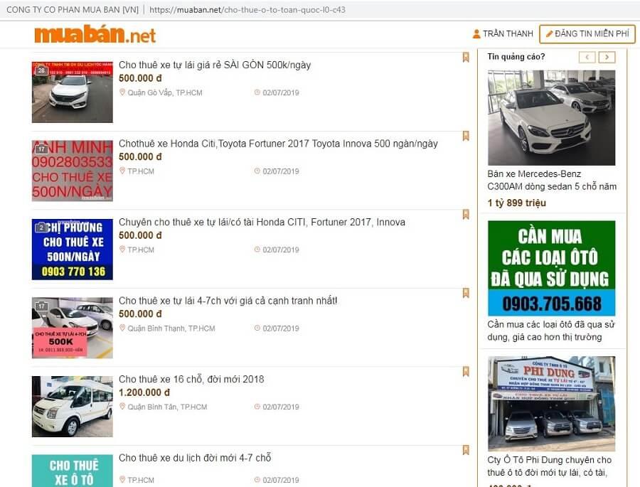 Muaban.net - website chuyên cung cấp dịch vụ cho thuê xe ô tô uy tín, minh bạch tin cậy nhất hiện nay.