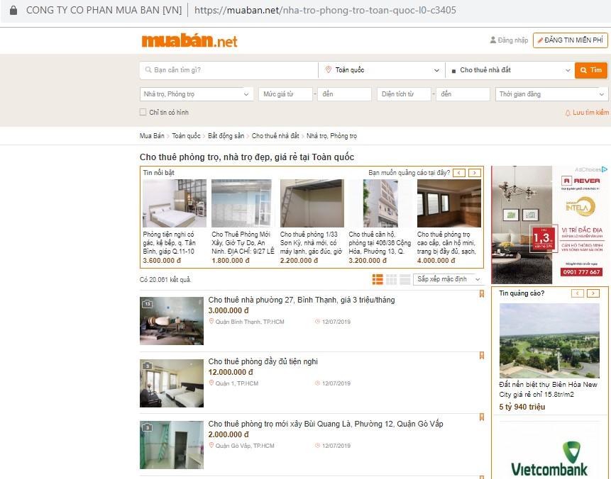 tìm phòng trọ ở Hà Nội giá dưới 1 triệu