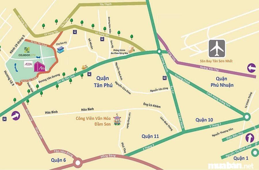 Từ Celadon City cư dân sẽ dễ dàng đi đến các tỉnh miền Tây, miền Đông và cửa khẩu Mộc Bài…