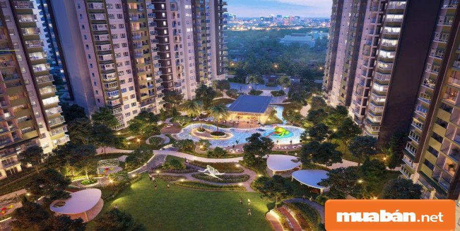 Cây xanh được bố trí hài hòa với các thiết kế khu căn hộ cao cấp.