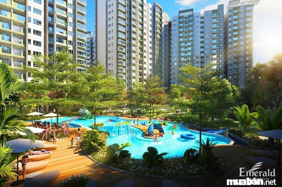 Emerald có vị trí kế bên khu căn hộ Ruby, trục đường N4 bao bọc quanh công viên trung tâm dấn tới trung tâm Aeon Mall Tân Phú.