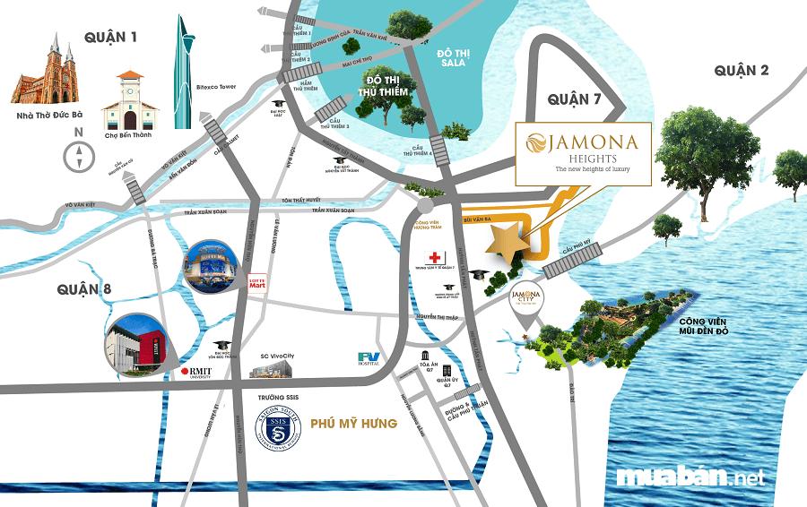 Jamona Heights tọa lạc tại đường Bùi Văn Ba, phường Tân Thuận Đông, quận 7, TP.HCM.