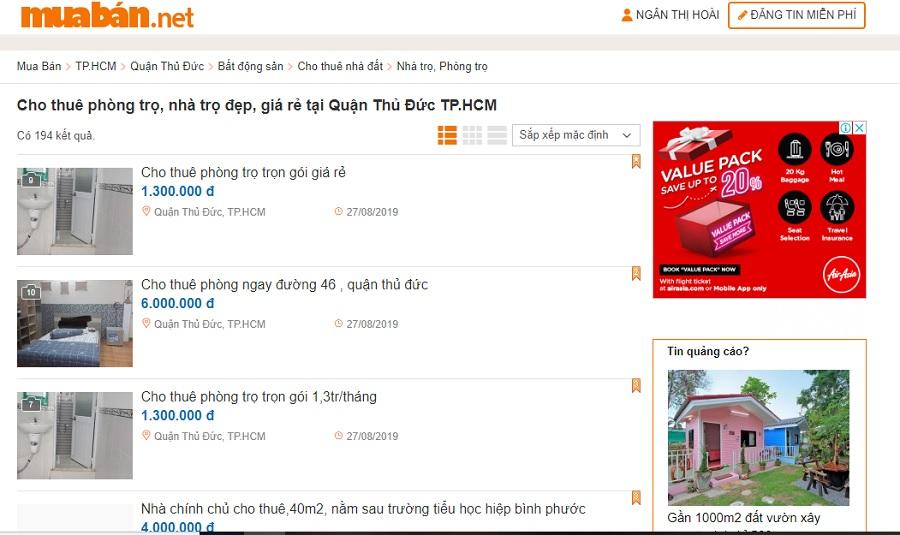 Tìm thông tin cho thuê nhà trọ Thủ Đức trên mạng xã hội, trên các diễn đàn, website.