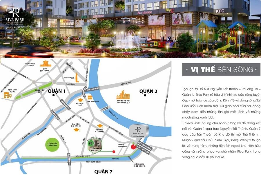 Riva Park sở hữu 2 mặt tiền đường lớn tại quận 4 là Nguyễn Tất Thành và Tôn Thất Thuyết,