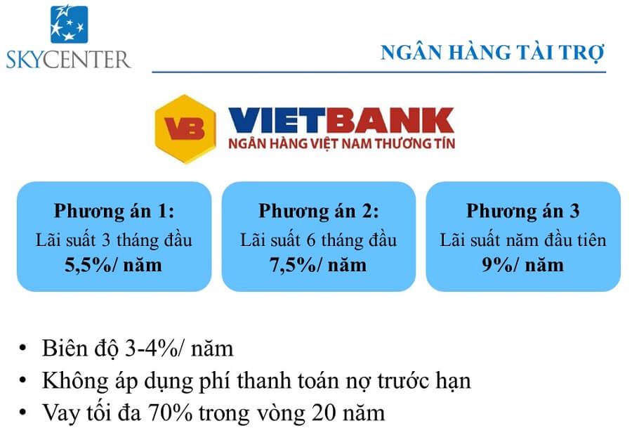 Qúy khách hàng mua căn hộ Sky Center còn được Ngân hàng Vietbank hỗ trợ tối đa 70% với lãi suất ưu đãi chỉ 5,75%/năm.
