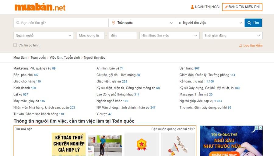 Bạn có thể tham khảo các trang web có số lượng người truy cập nhiều như muaban.net…