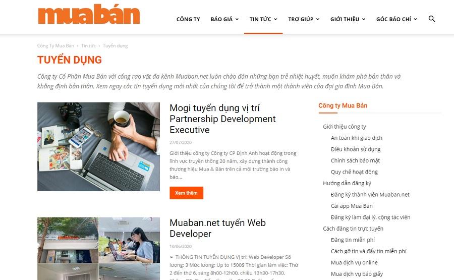 Một số thông tin tuyển dụng trên website muaban.net.