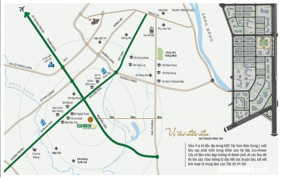 Eco Green City nằm ở phía Tây Nam Hà Nội.