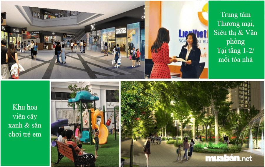 Dự án có hàng loạt các tiện ích đẳng cấp như: Phòng tập gym, khu spa, nhà hàng, quán cà phê, trung tâm thương mại, bể bơi bốn mùa…