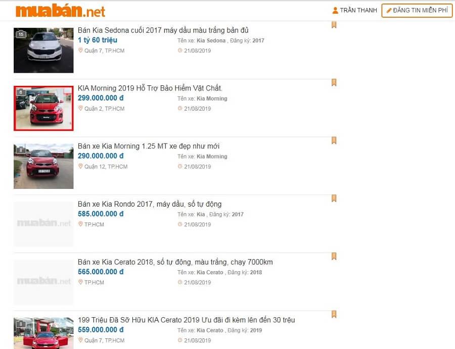 Giá bán xe xe Kia Morning cũ trên Muaban.net