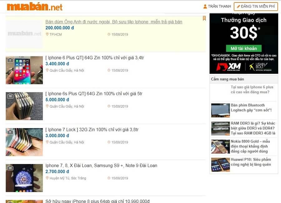 Bạn có thể tìm thấy giá Iphone 6 Plus cũ siêu mềm trên muaban.net