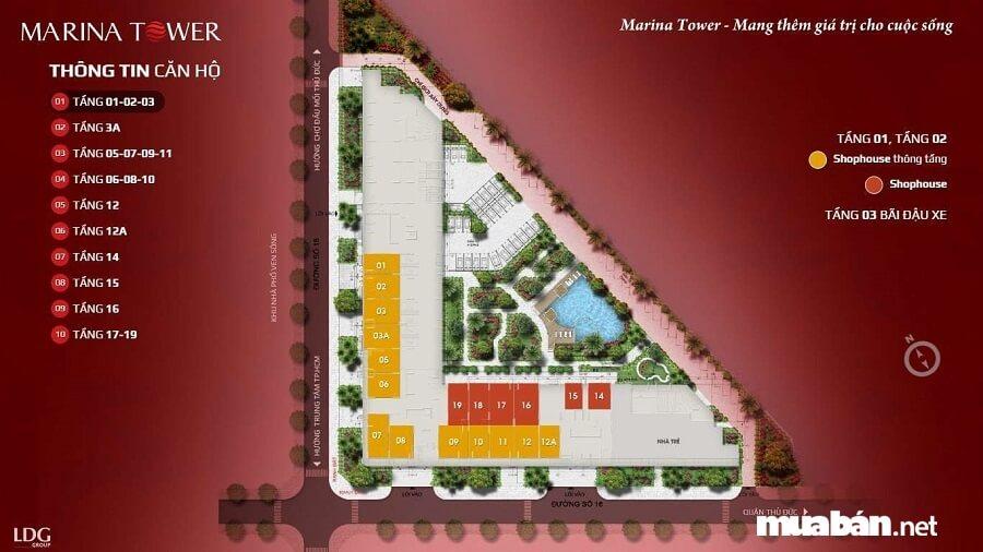 Dự án Marina Tower có quy mô hơn 10,000 m2, tổng vốn đầu tư gần 1,000 tỷ đồng.