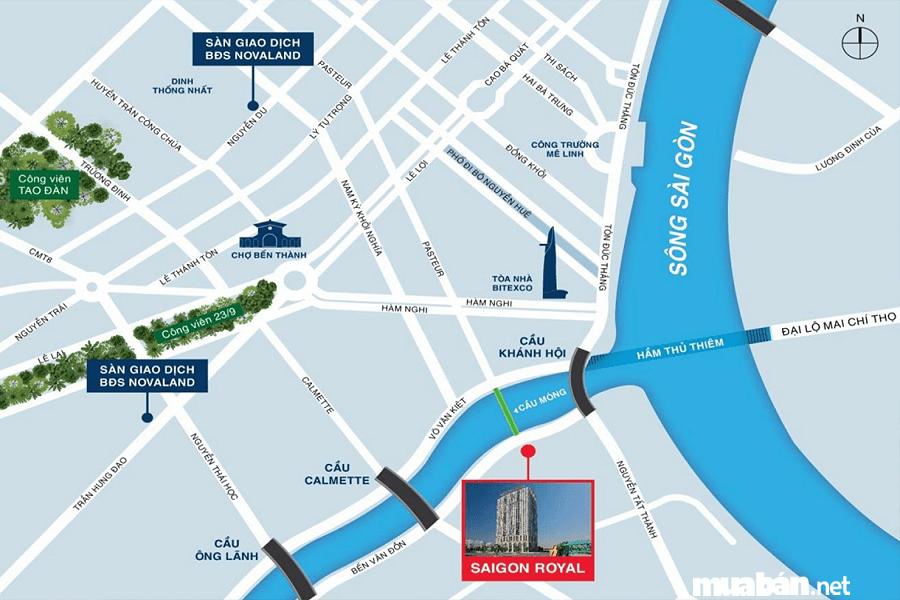 Căn hộ Saigon Royal còn nằm ngay cạnh dòng sông Sài Gòn thơ mộng.