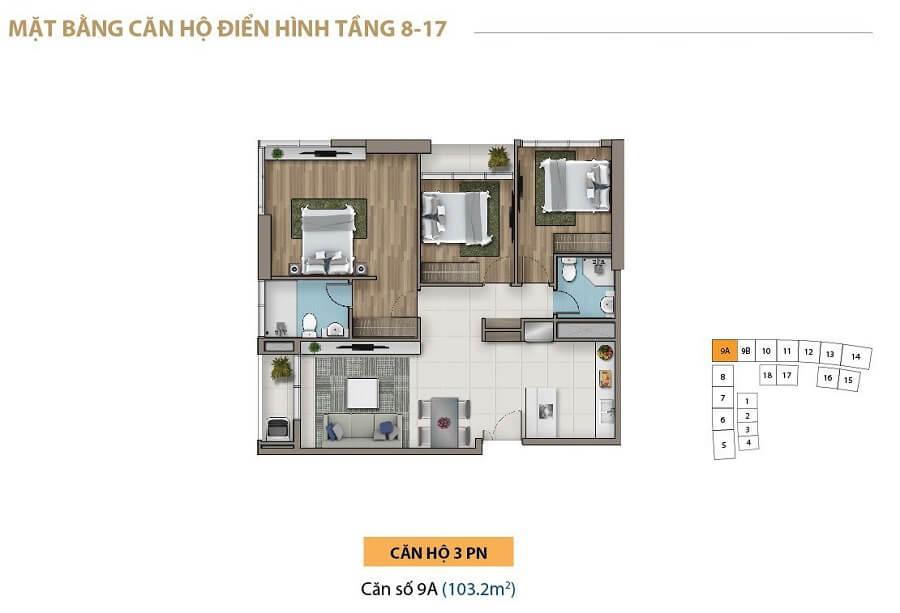 Giá bán căn hộ tại Saigon Royal từ 3,8 tỷ/căn 1 phòng ngủ.