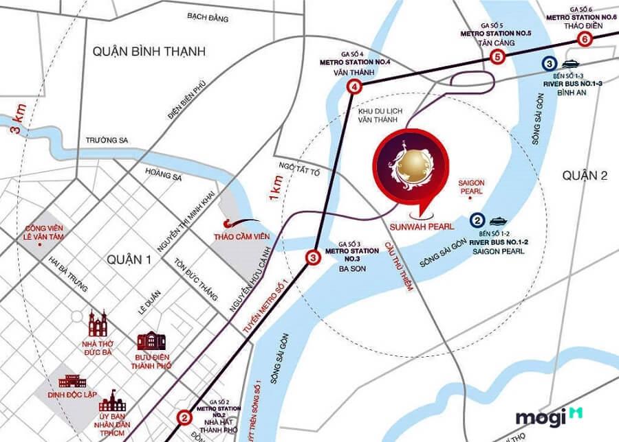 Sunwah Pearl tọa lạc ngay tại số 90 Nguyễn Hữu Cảnh, Quận Bình Thạnh, TP.HCM