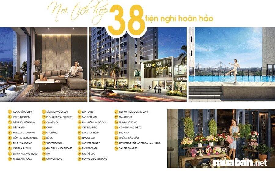 Chủ đầu tư trang bị tới 38 tiện ích nội khu tại dự án căn hộ Jamona Heights.