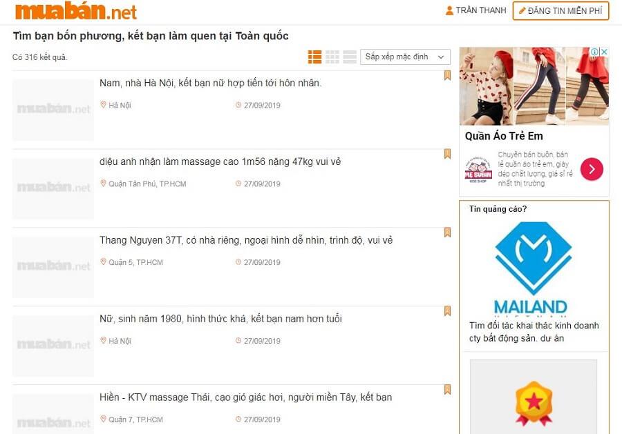 Muaban.net - địa chỉ tìm bạn bốn phương có số điện thoại an toàn, tin cậy cho những ai cô đơn.