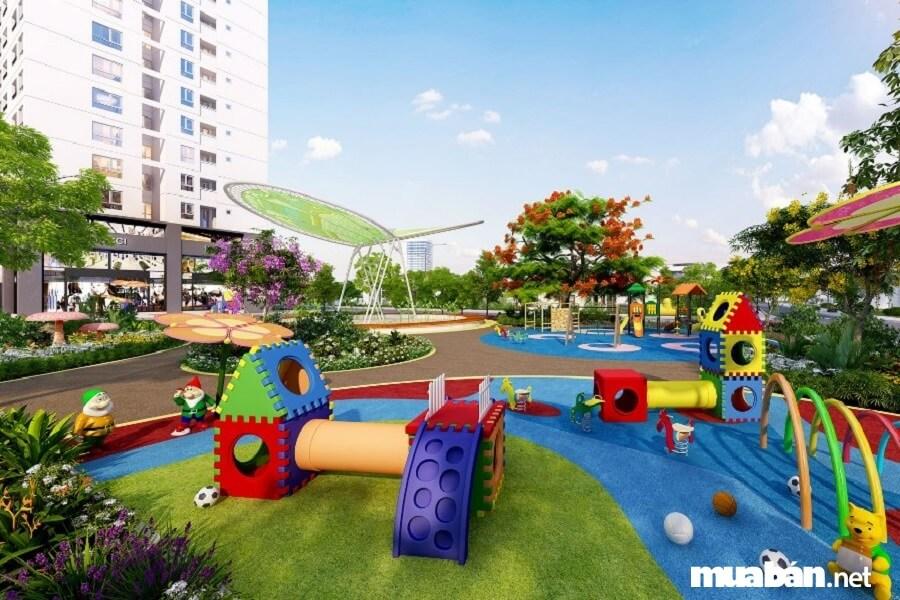 Cư dân dự án được hưởng thụ một cuộc sống văn minh với hồ bơi, khu vui chơi trẻ em, siêu thị, gym, spa,…