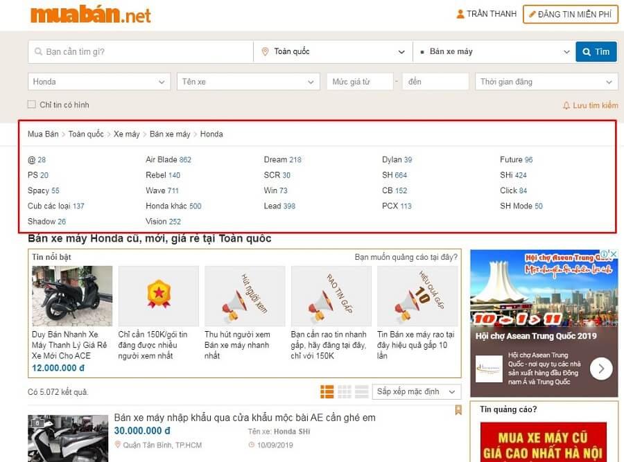 Chợ xe máy cũ trên Muaban.net rất đa dạng và phong phú.
